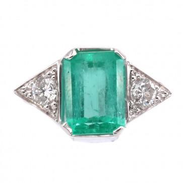 Anello oro, smeraldo - 2.40-2.70 ct - e diamanti