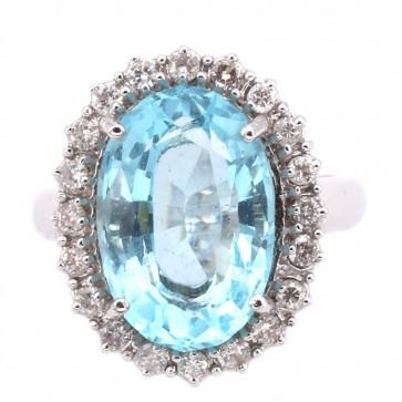 Anello maxi margherita oro, acquamarina - 9 ct - e diamanti