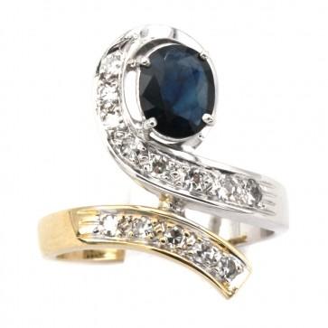 Anello contrariè bicolore in stile oro, zaffiro