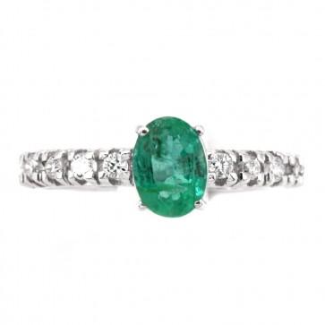 Anello semi eternelle oro, diamanti - 0.40 ct- e smeraldo solitario