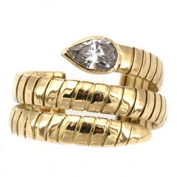 Anello serpente, oro giallo e zircone