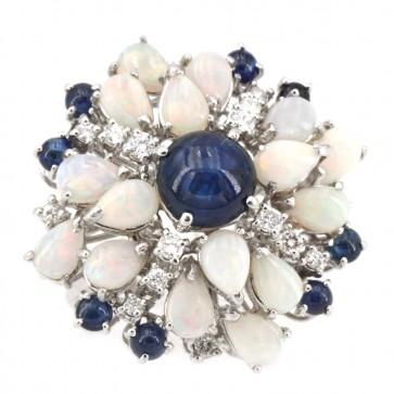 Anello maxi oro fiore zaffiri opali e diamanti