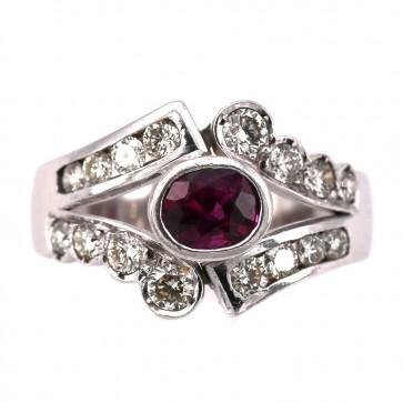 Anello fascia, oro con rubino e diamanti