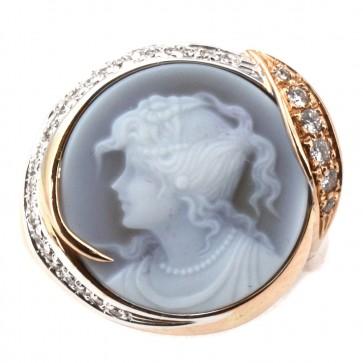 Anello Silvia Kelly cammeo in stile oro e diamanti