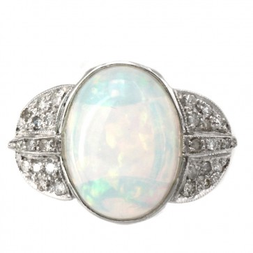 Anello, oro, opale e diamanti