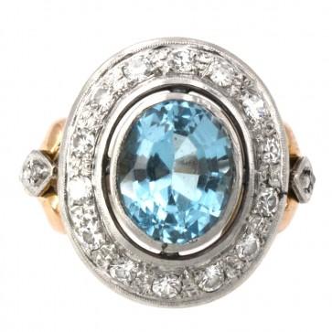 Anello toppa in stile oro, topazio azzurro e diamanti