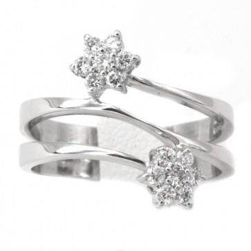 Anello contrariè margherite in oro e diamanti