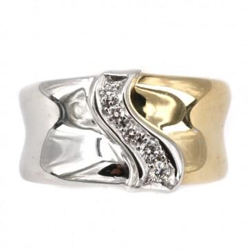 Anello fascia in oro bicolore e diamanti