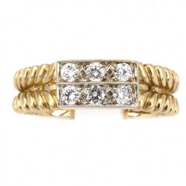 Anello fascia doppia in oro e diamanti