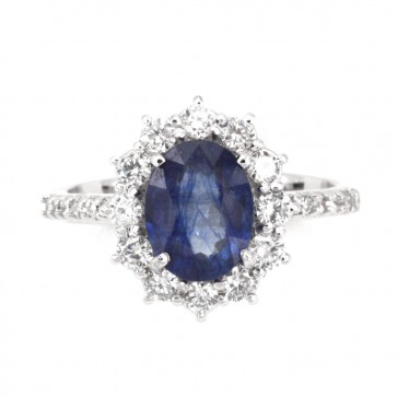 Anello margherita zaffiro - 2.5 ct - e diamanti