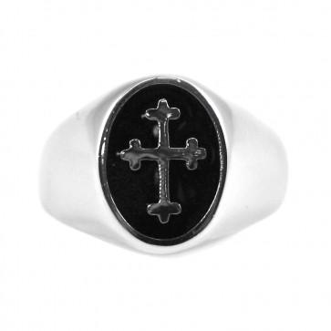 Anello uomo argento, con smalto nero e croce