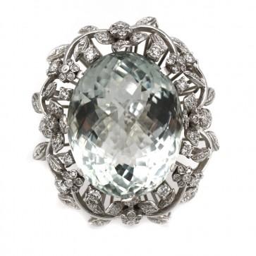Anello maxi margherita oro, acquamarina e diamanti