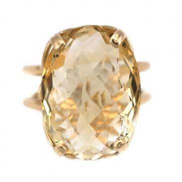 Anello vintage in stile, oro e quarzo citrino ovale
