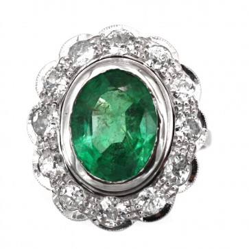 Anello maxi margherita oro,  smeraldo