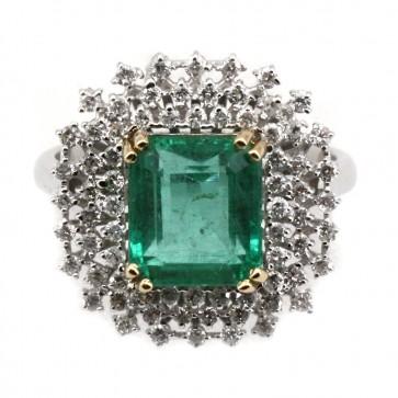 Anello maxi oro, diamanti e smeraldo