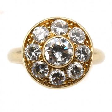 Anello toppa circolare oro e diamanti -solitario centrale