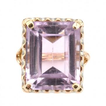 Anello oro maxi stone ametista
