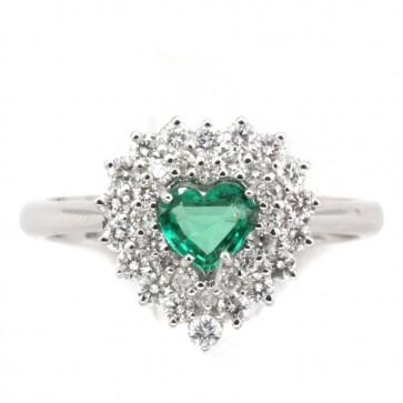 Anello cuore oro, diamantie smeraldo taglio cuore