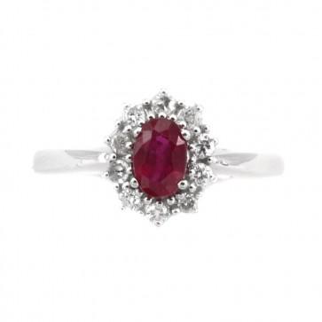 Anello margherita oro, rubino  e diamanti