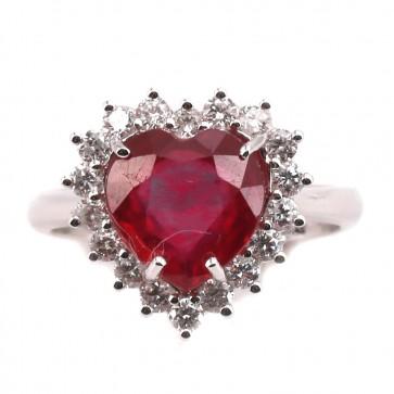 Anello oro cuore rubino - 3.75 ct- e diamanti