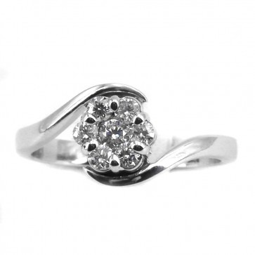 Anello margherita circolare oro e diamanti