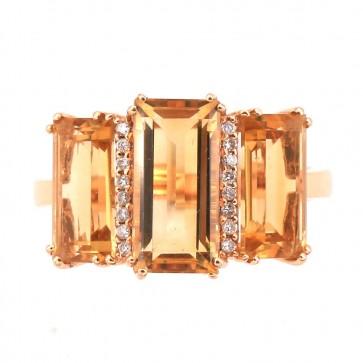 Anello geometrico oro, quarzi citrini e diamanti