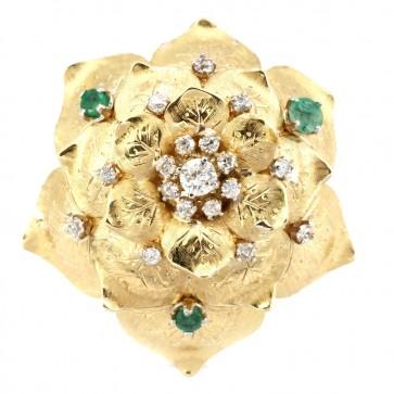 Anello maxi fiore oro, diamanti e smeraldi