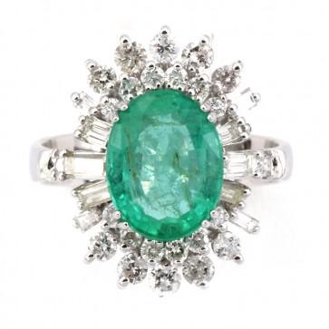 Anello margherita oro, diamanti e smeraldo