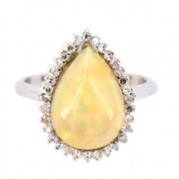 Anello, oro, goccia di opale - 5-6 ct e diamanti