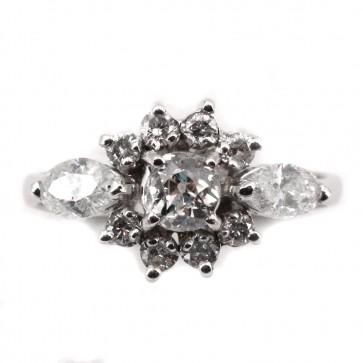 Anello vintage fiore oro e diamanti taglio navette e taglio antico