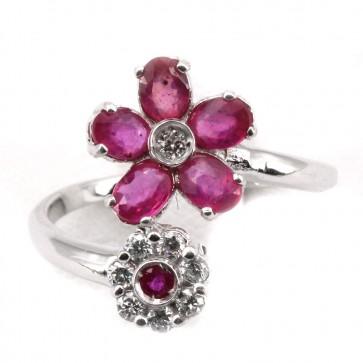 Anello contrariè doppio fiore oro, rubini