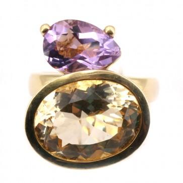 Anello maxi oro, doppia stone quarzo lemon e  ametista