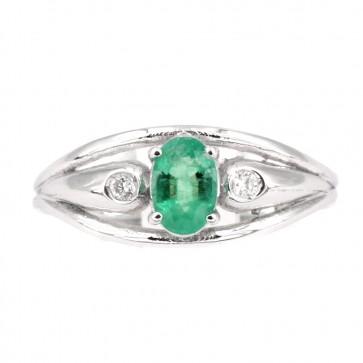 Anello fascia oro, smeraldo e diamanti