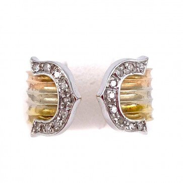 Anello fascia doppia C, oro tricolore e diamanti