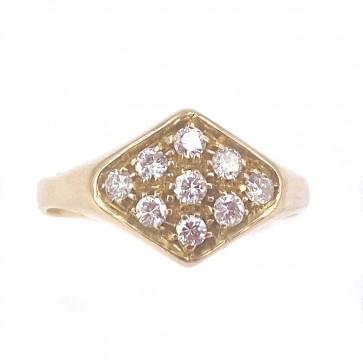 Anello fascia rombo, oro e diamanti