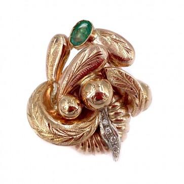 Anello maxi oro in stile con diamanti e zaffiro