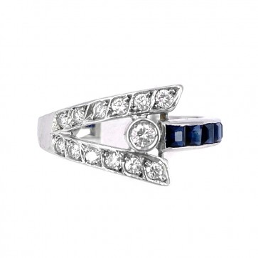 Anello oro, zaffiri - 0.35-0.40 ct e diamanti