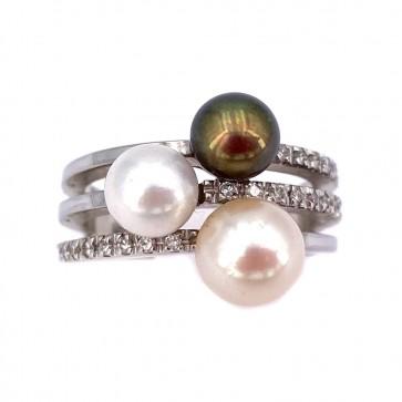 Anello fascia tripla oro, perle bianche