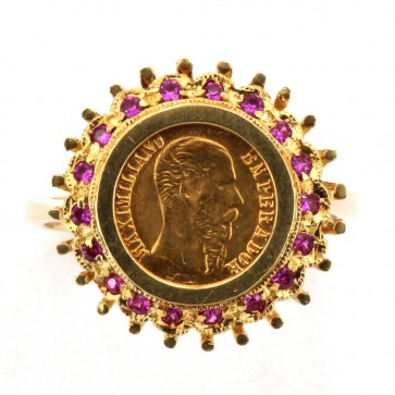 Anello oro con moneta pesos messicana