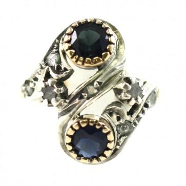 Anello contrariè, in stile, oro e argento, zaffiri