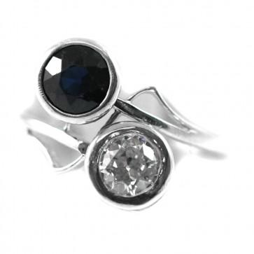 Anello contrariè, in stile, oro e argento, zaffiri - 1,30-1,40 ct e diamanti taglio rose coronè per 0,30 ct - 4,4 gr