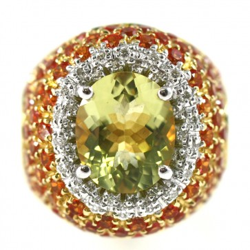 Anello oro, quarzo lemon, citrini e diamanti bianchi -0,35 ct