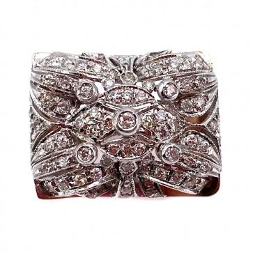 Anello maxi ponte squadrato, in stile, oro e diamanti