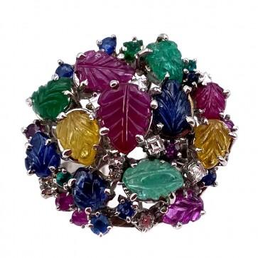 Anello toppa multicolor in stile oro, smeraldi , rubini, zaffiri