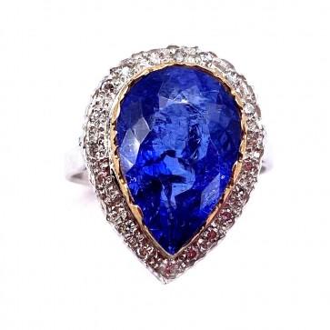 Anello maxi oro, goccia tanzanite -7.8-8.0 ct- e diamanti