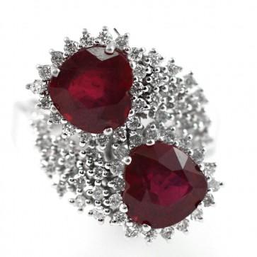 Anello maxi contrarié oro, e doppio cuore rubino - 6 ct - e diamanti  - 0,75 ct -