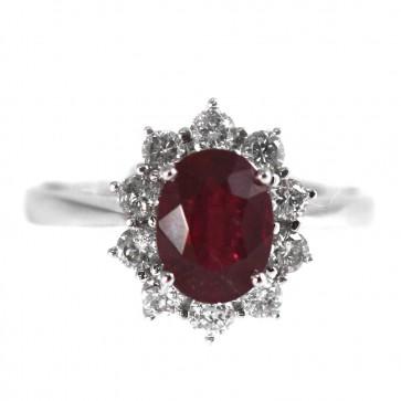 Anello margherita oro, diamanti -0,60 ct- e rubino -2,05 ct