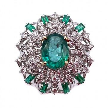 Anello margherita capolavoro oro, smeraldi