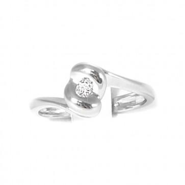 Anello solitario, oro e diamante taglio brillante - 0,06 ct-0,08 ct; 3,3 gr