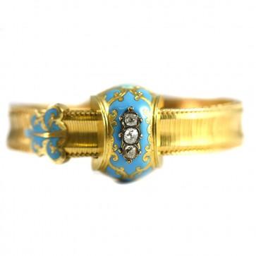 Bracciale antico capolavoro, in oro giallo, smalti e diamanti